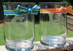 """Cool teacher gift or any gift idea!  Uses glass etching cream to """"monogram"""" a vase"""