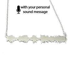 Sterling silver soundwave necklace ,waveform necklace,custom sound wave ,personalized waveform, sonogram ultrasound - Ship by DHL EXPRESS