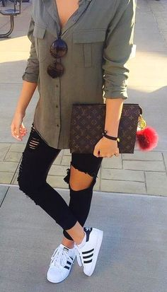 premium selection df34a 4fe67  fall  outfits women s gray button-up long-sleeved top, distressed black  jeans, and pairs of white Adidas Superstar sneakers