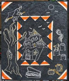 """The Witch's Broom Wall Hanging would make a great addition to any Halloween décor. Embroidered Halloween scene on a pieced quilt background.  This was originally written as an embroidery project of the month so the pattern is divided into 5 steps.  Finished Size: 25.5"""" x 32"""". Skill Level: Intermediate.  Technique: Embroidery/Pieced Background. Halloween Scene, Halloween Decorations, Witch Broom, Halloween Patterns, Kids Rugs, Embroidery, Quilts, Wall, Projects"""
