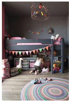 The LuxPad - Children's Bedroom Decor Ideas, Rosie Kinsella, trending kids room, grey decor, coloured bunt Cama Ikea Kura, Childrens Bedroom Decor, Childrens Bedrooms Girls, Deco Kids, Kids Decor, Decor Ideas, Bed Ideas, Decorating Ideas, Interior Decorating