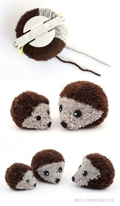 Para hacer pompones con forma de erizo solo ay que escoger dos colores diferentes de lana para hacerles la forma, una clarita para el hocic...