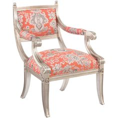 Coline French Country Antique Mandarin Floral Arm Chair ($1,755) ❤ liked on Polyvore featuring home, furniture, chairs, accent chairs, floral chair, red armchair, floral furniture, red floral accent chair and red furniture