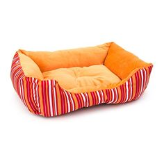 ALEKO PB06STOR 20 x 16 x 6 Inch Soft Plush Pet Cushion Crate Bed for Cats and Dogs Orange Stripes >>> Be sure to check out this awesome product.
