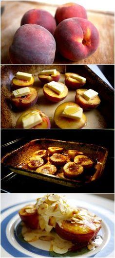 Pêches au miel cuites au four