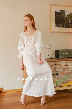 Autumn long nightdress 100% cotton embroidered nightgown Women home dress Vintage long sleepwear ** Read more at the image link.