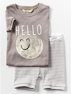 Organic moon short sleep set from GAP Toddler Outfits, Baby Boy Outfits, Kids Outfits, Little Boy Fashion, Kids Fashion, Toddler Boys, Baby Kids, Baby Gap Boy, Kids Nightwear