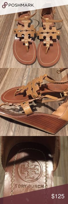 Tory Burch Chandler Sandal Wedge Adorable ankle strap wedge sandal. Only worn a handful of times. excellent condition and great neutral color! Tory Burch Shoes