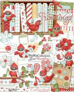 Cute digital scrapbooking and card making christmas kit filled with cute birds, poinsettias and so much more!  Sing Christmas's praises with this special Christmas kit!  FQB - Season's Tweetings Collection by Nitwit Collections™ #digitalscrapbooking #cardmaking