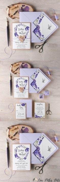 Lavender purple watercolor wedding invitations (Diy Wedding Invitations)