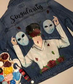 Painted Denim Jacket, Painted Jeans, Painted Clothes, Kpop Fashion Outfits, Star Fashion, Cute Comfy Outfits, Trendy Outfits, Custom Clothes, Diy Clothes