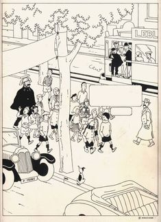 Studios Hergé - Originele tekening - Quick et Flupke + publicatie - (± 1980) - W.B.