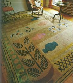 'Vases' carpet, designed by Duncan Grant for Virginia Woolf.
