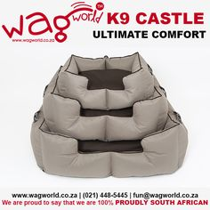 The K9 Castle is the ultimate comfort bed for your pooch! As pet owners ourselves here at WAGworld, we understand the importance of good quality beds for our furry friends #WAGworldBeds  For more information on any of our products, please get in contact with us on www.wagworld.co.za | (021) 448-5445| fun@wagworld.co.za We are proud to say that we are 100% PROUDLY SOUTH AFRICAN Truly fit for kings and queens, these bolster beds, the ultimate in luxury, are as comfortable as they are stylish.