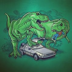 Bad part of time-travelling. Back to the Future / Jurassic Park mashup by illustrator Ben Chen. #timetravel #backtothefuture #mashup #crossover #illustration #jurassicpark #trex #funny #benchen