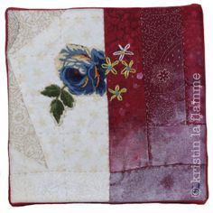 "Americana VII, 5x5"" quilted art on canvas by Kristin La Flamme."