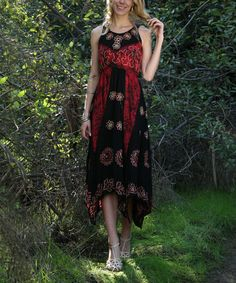 This Black & Red Floral Tie-Dye Midi Dress is perfect! #zulilyfinds