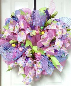 Easter Wreath Spring Wreath Easter Eggs and by Azeleapetals
