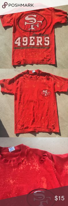 San Francisco Distressed Shirt • Size Medium  • VINTAGE SHIRT!!!  •Super cute distressed shirt with bleach stains and holes for that perfect vintage look.  •I make One-of-a-kind shirts, so once they're sold it's gone!!   •This shirt is PERFECT for any 49er fan!!!!   #sanfrancisco #49ers #49 #football #vintage #vintageshirt #distressed #distressedshirt #bleach #holes #cute #fashion #handmade Salem Sportswear Tops Tees - Short Sleeve