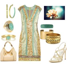 """Aqua and Coral Dress"" by theapatricia on Polyvore"