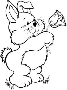 Easter Coloring Page: Bunny with Tulip - Free printable Easter coloring pages for kids from PrimaryGames.
