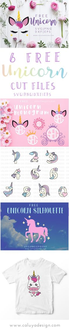 6 FREE unicorn SVG cut files. compatible with Cricut, Cameo Silhouette, and other major cutting machines. Unicorn cut files free, free unicorn silhouette cut files, free unicorn monogram SVG cut file, free unicorn face SVG cut file. Be a magical unicorn craft master with these irresistible unicorn SVG, DXF, PNG and EPS cut file bundles!