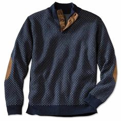 Pure lambswool lends this navy mockneck sweater soft, itch-free warmth; the three-button mockneck style complements his favorite button-down or T-shirt. The navy-and-cream bird's eye knit ensures versatility. Rib-knit trim at the neck, cuffs, and hem. Genuine sueded-leather elbow patches and trim. Mockneck sweater for men in navy. Lambswool/suede. Dry clean. Imported. <br />Sizes: M(38-40), L(42-44), XL(46-48), XXL(50-52).