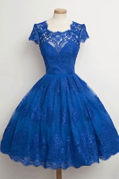 Blue Knee-length Prom Dresses, Knee-length Short Prom Dresses, Vintage Scalloped-Edge Cap Sleeves Lace Blue Short Prom Cocktail Party Dresses #promdresses #promdressesblue #shortpromdresses #homecomingdresses