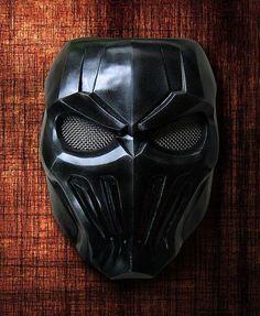 Black skull fiberglass mask rock style by TheDarkMask on Etsy