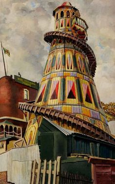 Helter Skelter by Stanley Spencer I remember these well! you were given a coconut mat to sit on & went at a far old speed.