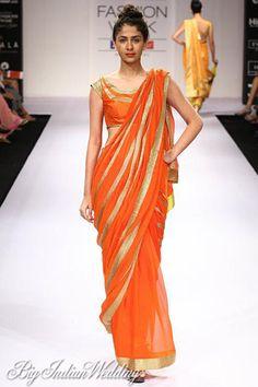 bright orange #sari to spruce up your evening