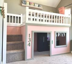 Playhouse Loft Bed with Ladder Available as a Bunk Bed Loft Playhouse Loft Bed, Build A Playhouse, House Bunk Bed, Kids Bed House, Loft Bed Stairs, Kids Indoor Playhouse, Toddler Loft Beds, Kids Bunk Beds, Girl Loft Beds
