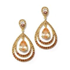 Beautiful Wedding or Prom Earrings - Two-tone Concentric Pears CZ Earrings - OUR PRICE: $60.45 - http://www.mybridalring.com/two-tone-concentric-pears-cz-earrings/
