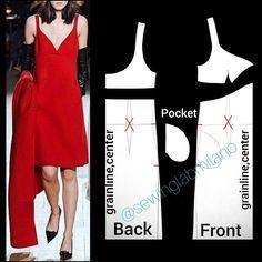 Diy Sewing Projects, Sewing Tutorials, Dress Sewing Patterns, Pattern Dress, Poses, Pattern Blocks, V Neck Dress, Pattern Making, Pattern Fashion