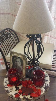Impression Flair Hocker Tischlampe Herz Bilderrahmen Windlicht Eisen Eisenhocker vintage Table Lamp, Lighting, Vintage, Home Decor, Stool, Dekoration, Nice Asses, Homes, Table Lamps
