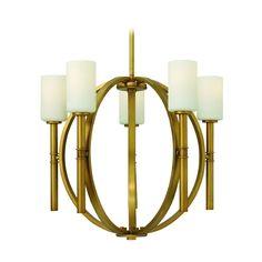 Chandelier with White Glass in Vintage Brass Finish | 3585VS | Destination Lighting
