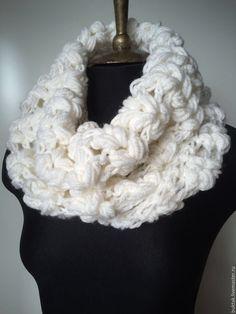 Купить Снуд БЕЛЫЕ КОСЫ - белый, снуд в один оборот, вязаный шарф, вязаный снуд