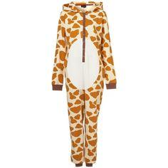 Giraffe PJ All-In-One | Onsies ❤ liked on Polyvore featuring intimates, sleepwear, pajamas, onesie, one piece, pyjamas, giraffe pjs, giraffe print pajamas, all in one pajamas and giraffe pajamas