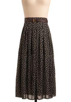 Cocoa brown midi skirt with polka dots? Mmm hmm!
