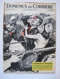 L'assassinio di Kennedy su 'La domenica del Corriere' Historical Art, Pulp Art, Vintage Magazines, History Facts, Drawing, Vintage Pictures, Illustration Art, Cartoon Illustrations, Science Fiction Art