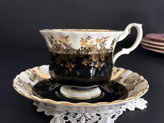 Royal Albert Black Teacup and Saucer, Regal Series, English Tea Cup -J-