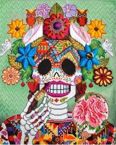 Unique Junktique: Tuesday's Top 5 Favorite Junk Finds -8 Featuring Day Of The Dead Art Jose Manuel Salas Needlepoint rendition 1 by Paula Schmidt @ Bestitched