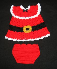 This is made to order. Please check my shipping times under the shipping button before ordering.  I crocheted this with soft acrylic yarn. Perfect for the holidays. Outfit includes dress, hat, booties and diaper cover.  This is made to order. Please specify size. I offer newborn up to 12 months. Hand wash is recommended.