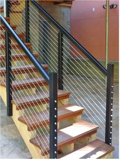 DesignRail® Stair Railing: DesignRail® 150 Cap Rail Used On Stair Railings  With Horizontal CableRail Infill.