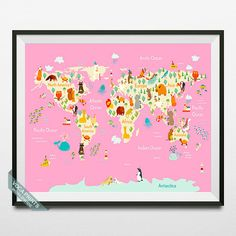Animal World Map World Map Print Animal Map Animal by VocaPrints