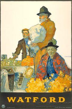Watford, by Elijah Albert Cox, published by Underground Electric Railways Company Ltd, 1916 Posters Uk, Railway Posters, London Transport Museum, London Poster, Poster Series, Watford, Vintage Travel Posters, Illustrators, Artwork