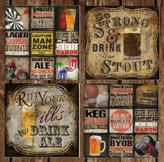 Set of 4 Man Cave beer tile coasters by KatesCoasters on Etsy