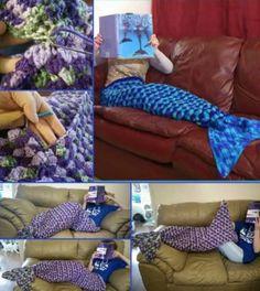 Mermaid Lapghan Crochet Tail Blanket - Adult Size Free Pattern