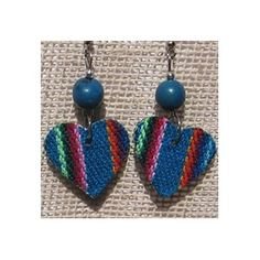 10 pair of heart shape Manta Inca Peruvian textile earrings handmade, nice colors made with alpaca silver and acai beads. US $ 24.90 free shipping from peruincamarket