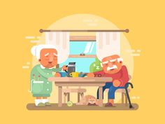 Grandparents+breakfast+flat.+Grandfather+and+grandmother+elderly+character.+Vector+files,+fully+editable.